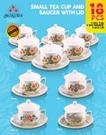Small Tea Cup and Saucer With lid 18 Pcs