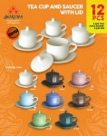 Tea Cup And Saucer With Lid 12 Pcs